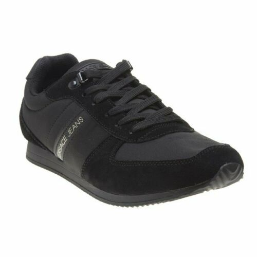 New Hommes Versace Jeans Noir Runner Synthétique Baskets Rétro à Lacets