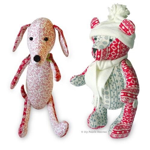 "2 x Sewing PATTERNS Jingle Bear 13/"" Christmas Teddy /& Dainty Dachshund 12/"" Dog"