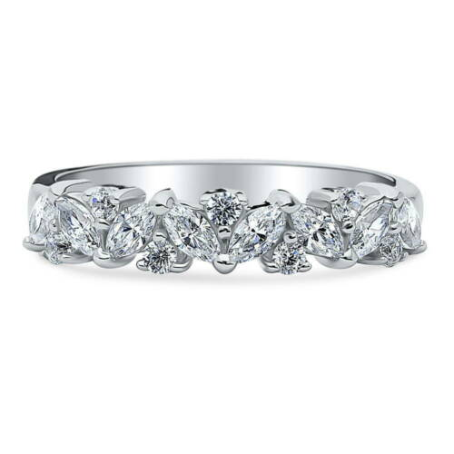BERRICLE Sterling Silver Cubic Zirconia Cluster Flower Anniversary Wedding Band
