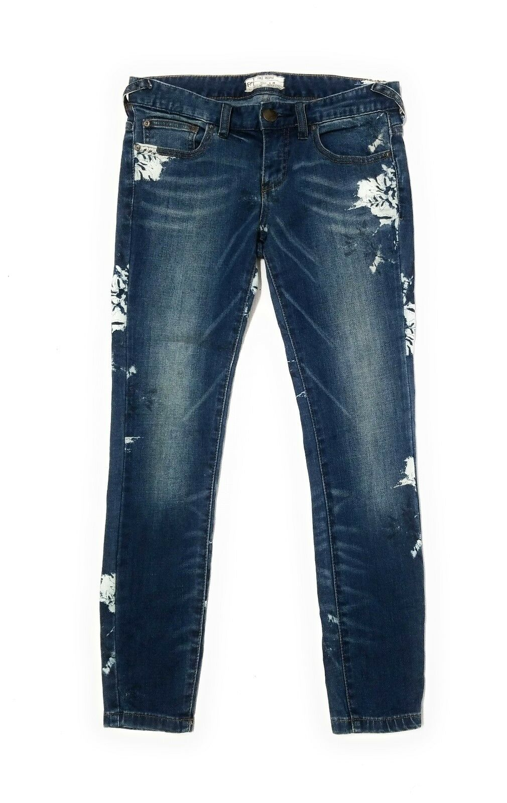 Free People Womens Floral Side Ankle Cut Skinny Jeans Size 26
