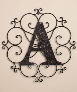 Metal Wall Scroll metal wall wrought bronze monogram medallion personalized initial