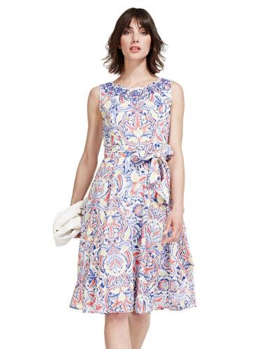 New M/&S PER UNA Pure Cotton Paisley Floral Fit /& Flare Dress Sz UK 12