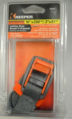Orange #45202 Keeper Lashing Strap 10/' x 200 lbs 600 lbs break strength
