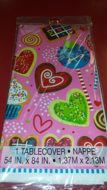"""Unique 54"""" x 84"""" Candy Hearts and Sweets  Disposable Plastic Tablecover"""