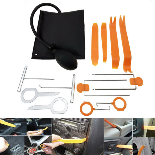 13pc Car Auto Dash Panel Pry Removal Trim Air Wedge Pump Hand Remove Tools Kit