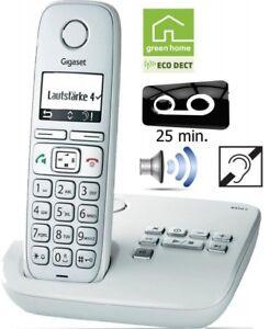 Gigaset-E310A-schnurlos-ECO-DECT-analog-Telefon-Anrufbeantworter-Weiss-NEU