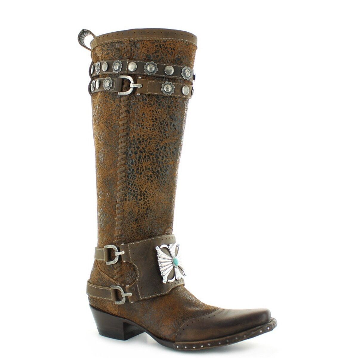 Double D Ranch Ladies Bow Guard Crackled Rust Knee-High Boots DDL003-1