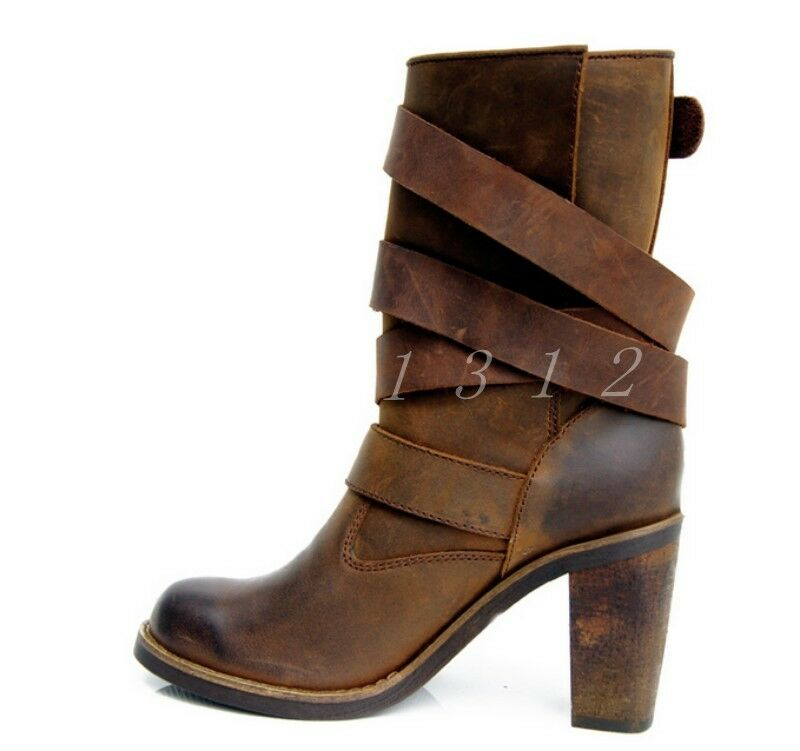 Womens High Heels Heels Heels Leather Retro Buckles Square Toe Gladiator shoes Mid Calf Boots 6288c4