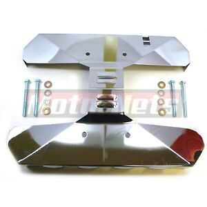 Small Block Fits Chevy Louvered Exhaust Manifold Covers Chrome Pair