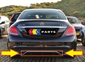 Nuevo-Genuino-Mercedes-Benz-MB-C63-W205-AMG-Parachoques-Trasero-Difusor-cromado-moldura