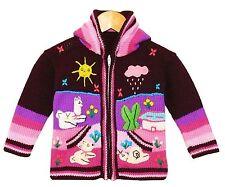 Baby STRICKJACKE Brombeer Lila Pink Gr.80*86 Kapuze Bauernhof Alpaka Peru Tiere
