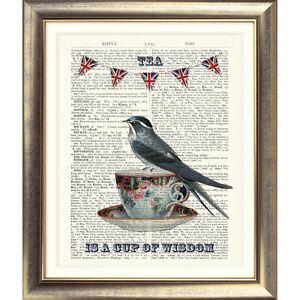 ART-PRINT-ON-ORIGINAL-ANTIQUE-BOOK-PAGE-Tea-Cup-Bird-Bunting-Vintage-Dictionary