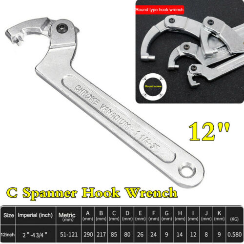 """Universal Adjustable 12/"""" 2/""""-4 3//4/"""" C Type Hook Spanner Wrench Tool Round Head"""