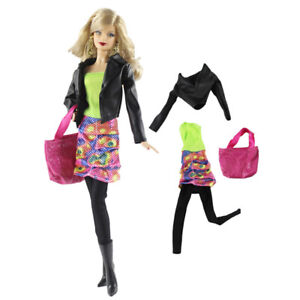 4Pcs-Doll-Outfit-Set-Leather-Jacket-Dress-Leggings-Bag-for-Barbie-Dolls-30cm