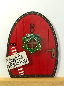 Image is loading Handpainted-Christmas-Santa-Elf-Elves-Pixie-Fairy-Door- & Handpainted Christmas Santa Elf Elves Pixie Fairy Door Gift Skirting ...