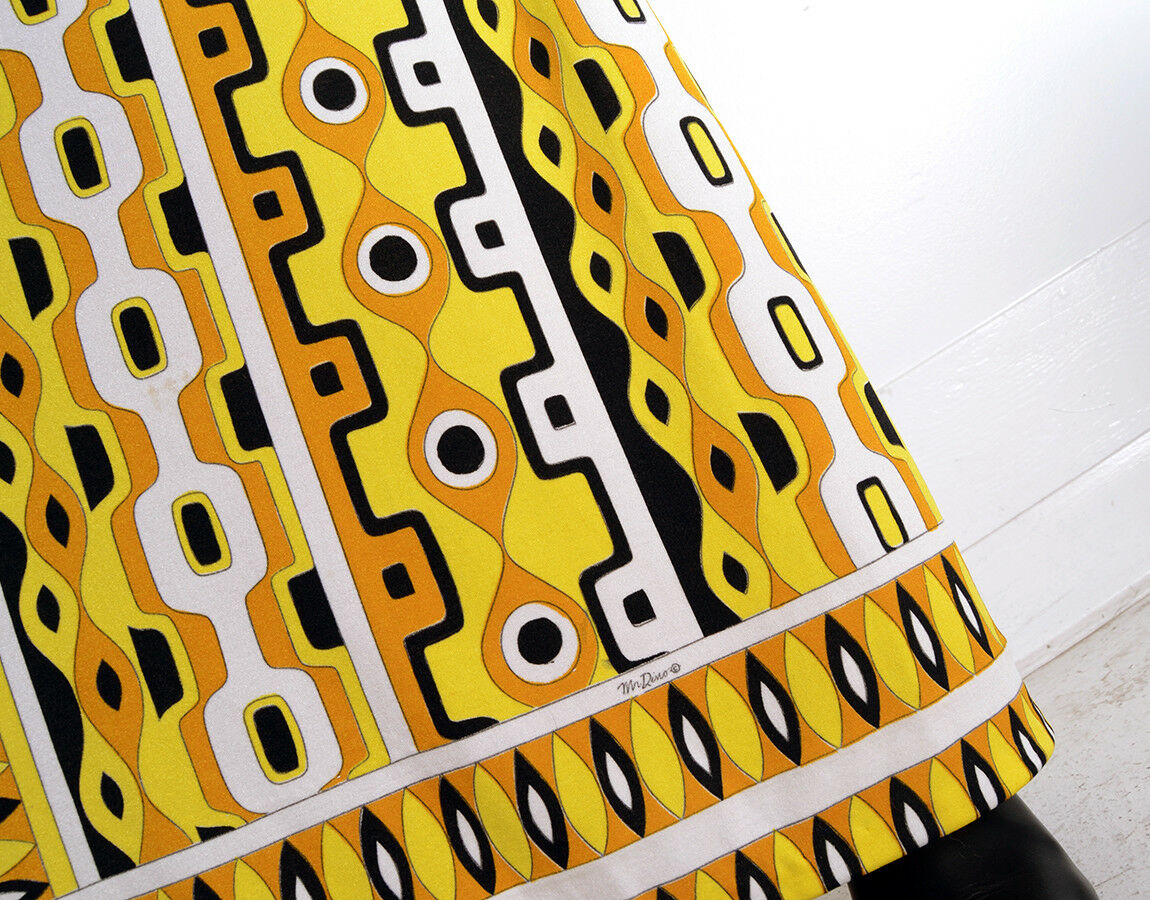 Vintage 70s MR DINO yellow target mod maxi dress