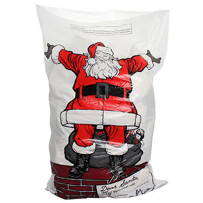4 X LARGE PLASTIC CHRISTMAS SANTA SACK STOCKING BAG GIFT PRESENTS TOY TREE XMAS