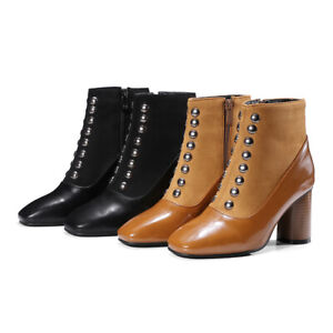 Fashion Womens Party Shoes Block Heel Side Zipper Square Toe Ankle Boots