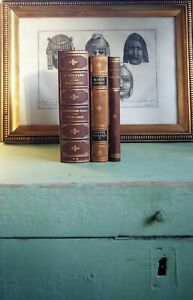 3-DECORATIVE-OLD-LEATHER-BOOKS-ROLLAND-GOLD-DECOR-FREE-SHIPPING