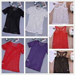 Men Mesh T-Shirt Fishnet Tee Muscle Vest Tank Top Blouse See Through Clubwear