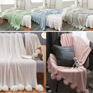Reversible Pom Pom Knitted Throw Crochet Blanket Bed Sofa Cotton Rug Home Decor Blankets & Throws Afghans & Throw Blankets