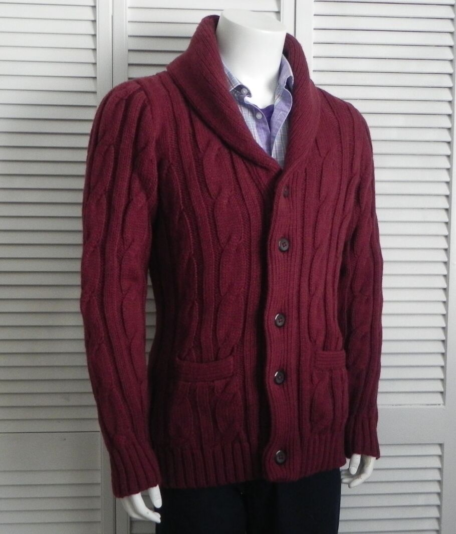 NEW  Herren SIZE 2XL ALPACA Burgundy ROT Shawl Collar Cable Cardigan Sweater PERU