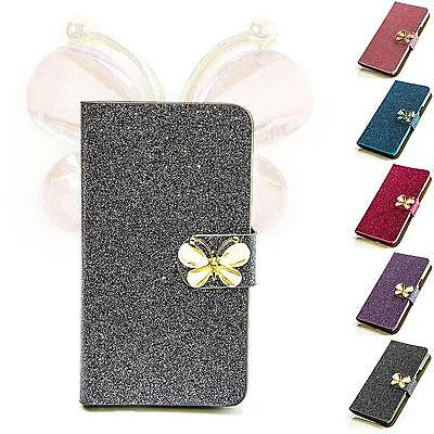 Schmetterling Strass Handy Tasche Schutz Hülle Flip Cover Style Case Etui M212