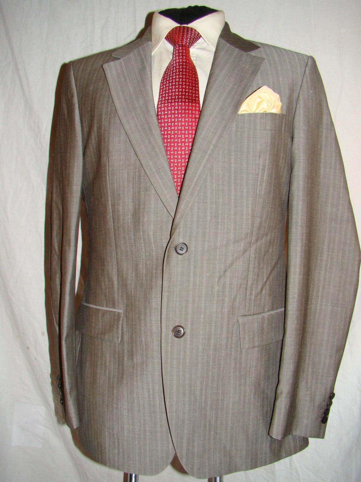 Hugo à Boss (pignon / Vegas) à Hugo rayures gris fab Designer Veste de Costume UK 42L EU 52L 6cce00