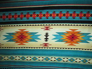 Image Is Loading Navajo Native American Teal Gold Border Print Cotton