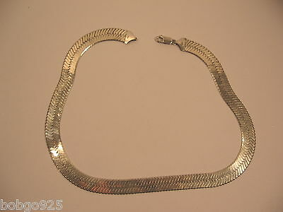 Necklace Herringbone 925 Sterling Silver Italy 9.5 mm 16 1/2 in Long 3/8 in Wide