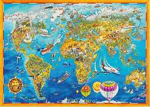 1000 Piece Comic Collection Jigsaw Puzzle WORLD MAP 05135 eBay