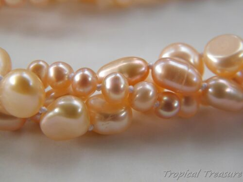 925 SOLID Silver clasp Peach Pink 3-Row Freshwater Pearl Necklace