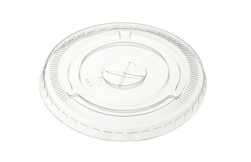 1000 x 9oz Clear Flat Lids with Straw Hole For Plastic Smoothie Milkshake Cups