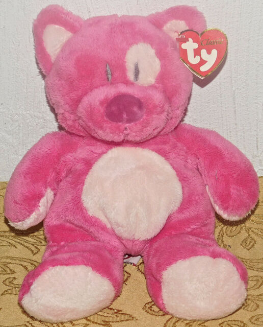 TY Classic Kitty Cat BLUESY Hot Pink Plush Stuffed Floppy TOY Lovey New Tags
