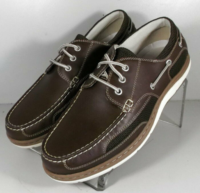 59NP36192 FT50 Men's shoes Size 10 M Brown Leather Boat shoes Johnston Murphy