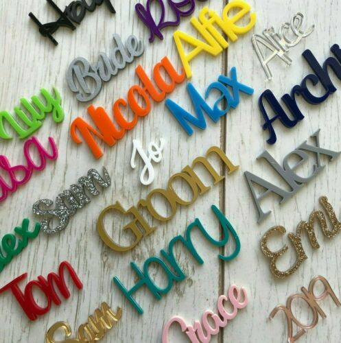 *ANY FONT* Personalised acrylic name plastic script plaque sign Word Letters