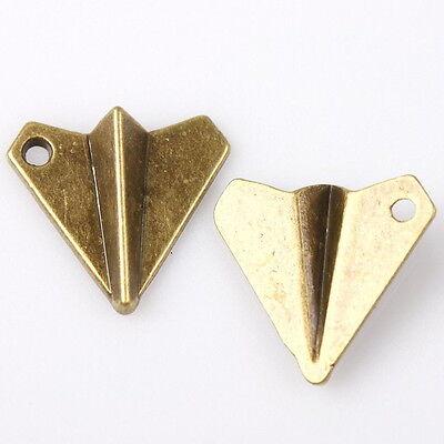 40pcs Antique Bronze Mini Paper Plane Charms Alloy Pendant Fit Jewelry 144821