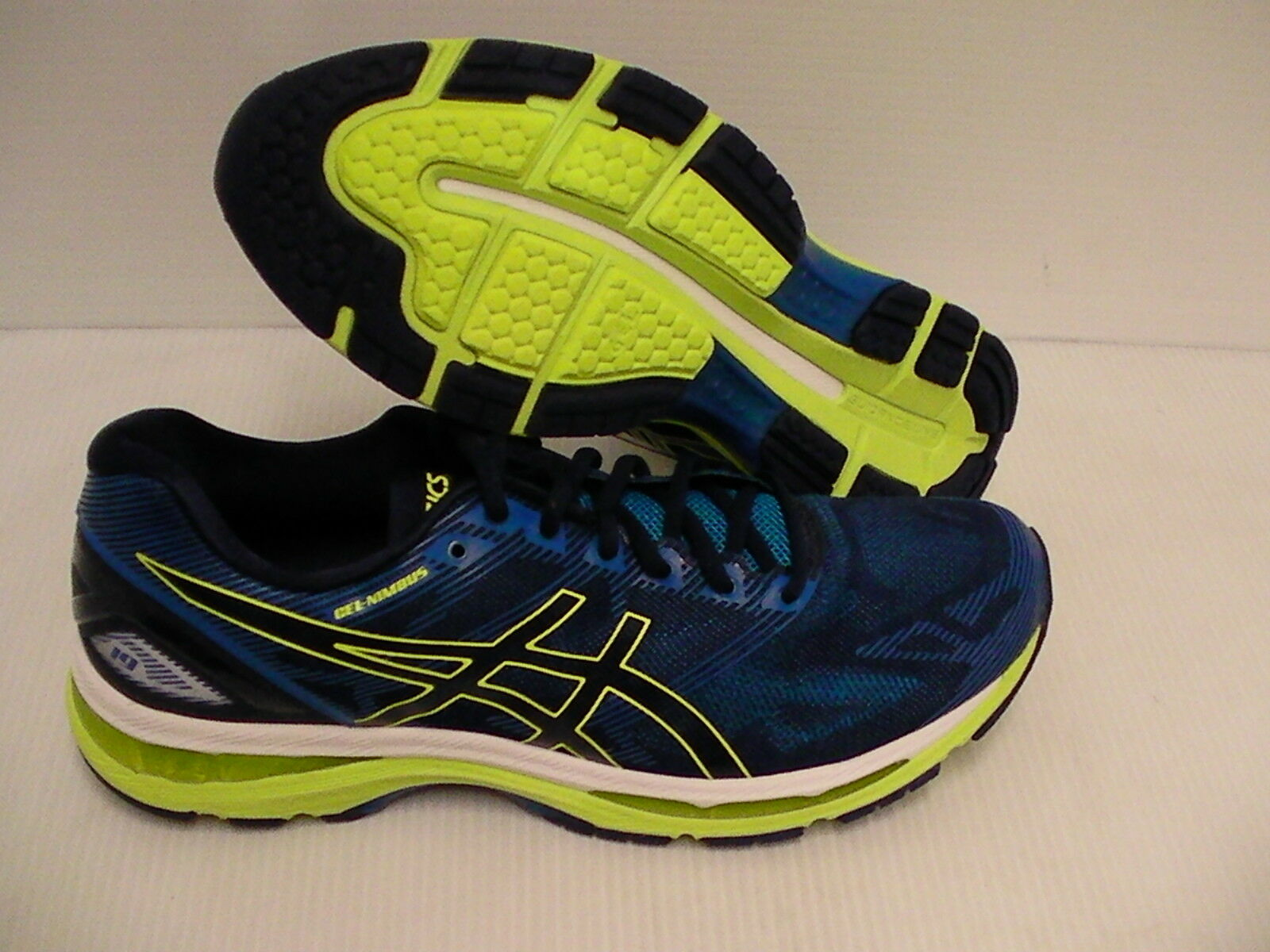 Asics men's gel nimbus 19 running shoes indigo blue safety yellow size 9 us