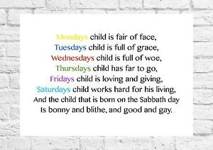 image is loading mondays child is fair of face nursery rhyme