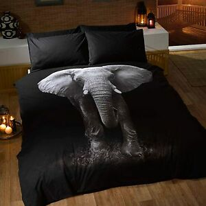 Elephant-Set-Housse-de-Couette-Double-Inclus-Coussins-Animal-Faune-Literie
