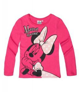 DISNEY-t-shirt-MINNIE-4-6-ou-8-ans-rose-fuchia-noir-manches-longues-haut-NEUF