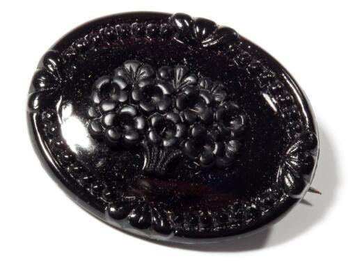 Antique Czech Victorian jet black glass mourning oval flower bouquet pin brooch