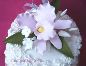 Sugar Gum Paste Pink Cattleya Orchid Stephanotis Flowers