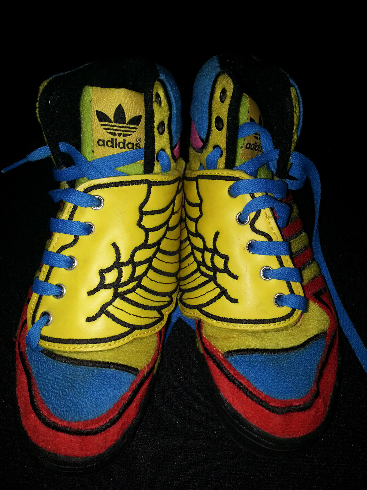 JEREMY SCOTT Adidas Multi-Color Blue Red Wing Sneakers Wings Mens Sz 8 High Top
