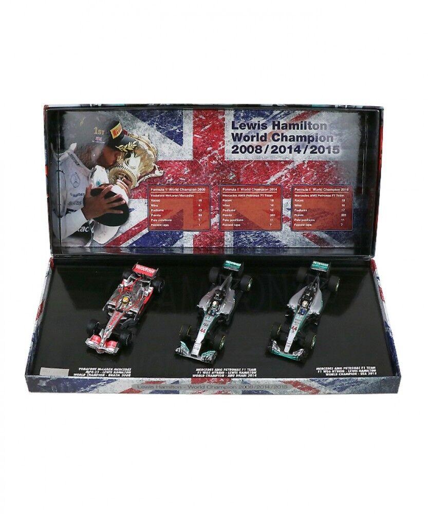 Nuevo Minichamps 1 43 campeón mundial 2008 2014 2015 Lewis Hamilton 3 Piezas Set Japón