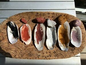 OLD RAW PAINTING OCHRE'S & OUTBACK MUSSEL SHELLS: ABORIGINAL