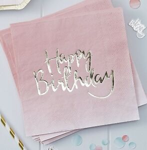 20 Servietten Happy Birthday 33 X 33 Cm Rosa Gold Ombre Look