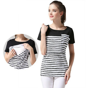 df27e3c77 Image is loading Short-Sleeve-Maternity-T-Shirts-Nursing-Tops-Stripe-