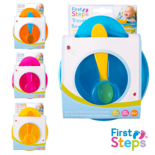 Travel Baby Feeding Bowl With Spoon and Lid Blue Pink Orange Yellow First Steps