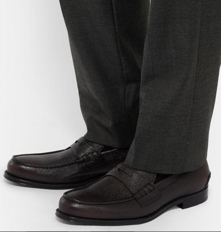 HUGO BOSS    Collec  Dark rot Pebble-Grain Leather Penny Loafers NEW NIB e1978c